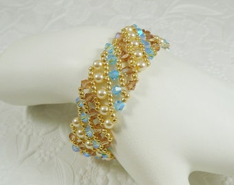 Woven Bracelet Swarovski Crystal Aquamarine AB Pearl and Topaz Accents