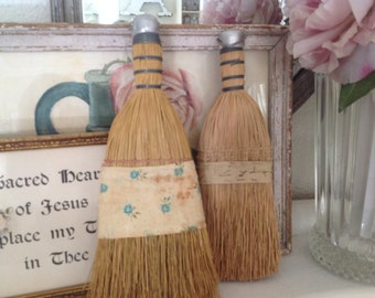 Vintage Wisk Brooms ~ Farmhouse Chic Decor ~ Turquoise and Roses ~Shabby Chic ~ Small Brooms for cleaning ~  Unique Wall Hanging