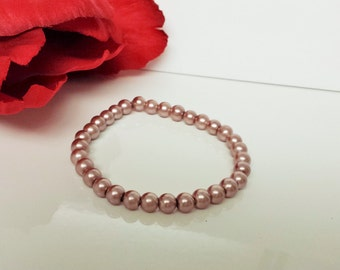 Rosewood 6mm Glass Pearl Bracelet for Bridesmaid, Flower Girl or Prom