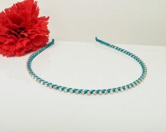 Turquoise Blue Satin Ribbon Enhanced Rhinestone Bridal Headband for Bridesmaid, Prom, Flower Girl or Wedding Party
