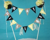 """Bee Cake banner, gender reveal, bunting baby shower, """"What will it be"""" B024 - yellow black baby cake topper"""