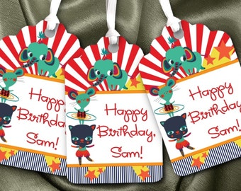 12 Favor Tags, Gift Tag, Birthday Party, Circus Theme, Big Top, Carnival, Circus Animals, Red, Blue, Green, Yellow, Stars, Stripes