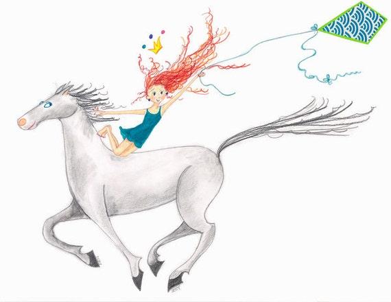 "Equestrian Horse Art-LITTLE LADY GODIVA-18""x12""Print-Redhead Girl-Teal-Tiara-Flying Kite-Galloping White/Grey Horse-Vaulting Riding-WallArt"