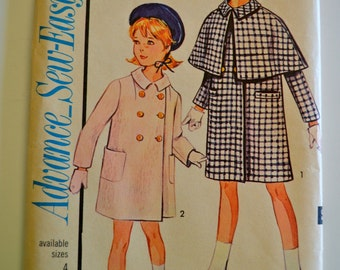 Advance 3416 Sew Easy Child's and Girls Coat with Detachable Cape Size 8 UNCUT