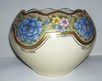 Hand Painted Eberle Porcelain Bowl, Blue Flowers, Gold Trim, Scalloped Edges, Home Decor, Vintage Porcelain, Elegant Bowl, Wedding Present