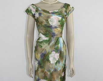 1950's Vintage Dress - Watercolor Floral Print Wiggle Dress - Summer Frock