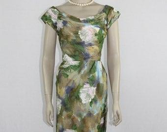 1950's Vintage Dress - Watercolor Floral Print Wiggle Dress - Summer Frock