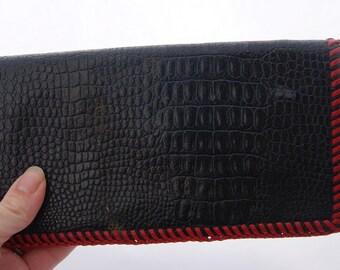 Vintage Black Leather Tooled Wallet