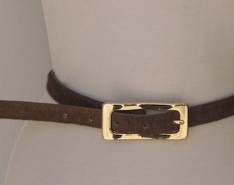 Vintage 1980s Skinny Leather Pony Hair Belt