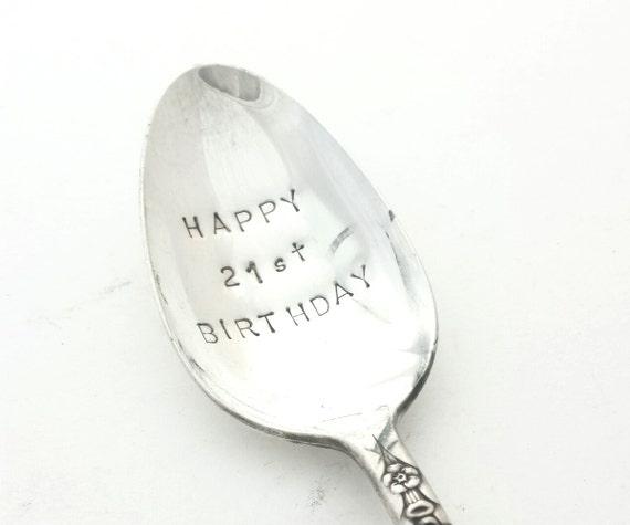 Hand Stamped Vintage Spoon - Birthday Present - HAPPY BIRTHDAY - Goozeberry Hill