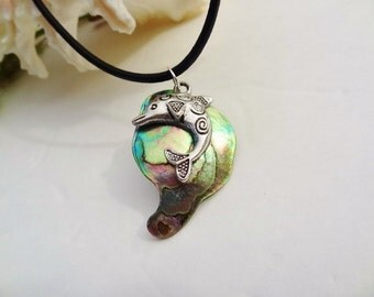 SALE Store Closing - Mother of Pearl Shell and Dolphin Necklace