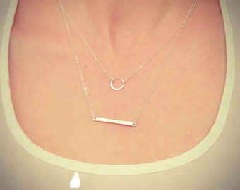 """NEW - Two Necklace Sterling Silver Tiny Hammered Bar Necklace and 1/4"""" Eternity Necklace - Gift For - Wedding Jewelry - Simple Everyday"""