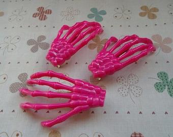20pcs 70mmx40mm hot pink skeleton hand hair alligator clip skull hand hair alligator clip