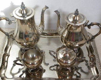 Vintage Silver Plate Coffee and Tea Service Set -- Complete set with Creamer, sugar bowl and tray -- International Silver Company ISC