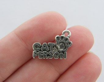 8 Cat person charms antique silver tone CT5