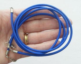 2 Blue nylon necklace 47cm