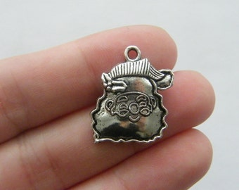 6 Father Christmas charms antique silver tone SF39