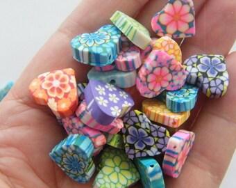 100 Polymer clay heart beads 15 x 13mm B159