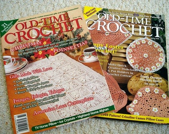 Old Time Crochet Magazines, Two Issues, Spring 2000, Winter 1998 - Crochet, Tat, Filet