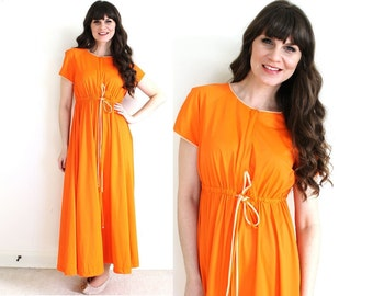 1960s Nightgown / 60s 70s Orange Nightgown Robe / Dressing Gown