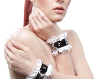 BDSM Bracelets Black Leather White Satin French Maid Patent Leather Bondage Cuffs with Snaps OR Locking Post - Kitten Play DDLg BDSM Slave