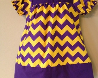 Purple and Gold Chevron Peasant Dress Made to Order