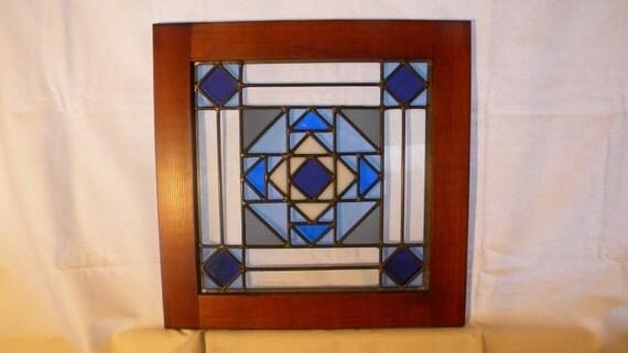 Quilt block window glacier bay by charlesartglass on etsy