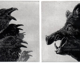 Raven artwork , Raven, crow, ANGRY BIRDS- , Etching, 7 inch x 10 inch 2012