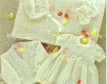 SALE **** Knitting and Crochet Pattern - Baby's Layette, Dress, Cardigan, Bonnet, Booties, Mitts to Knit - Crochet Shawl