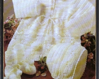 Crochet PATTERN - Baby Coat, Bonnet and Bootees 16 to 20 inch chest sizes 3 ply