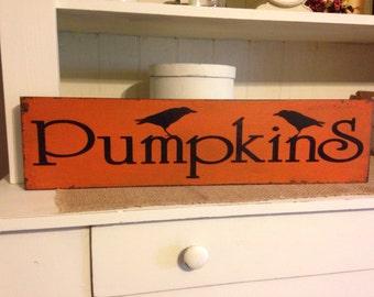 Primitive Decor,Pumpkins, Fall Decor, Primitive Fall Decor, Primitive Sign, Crows, Fall Sign, Pumpkin Sign, Fall Decor,Rustic Decor