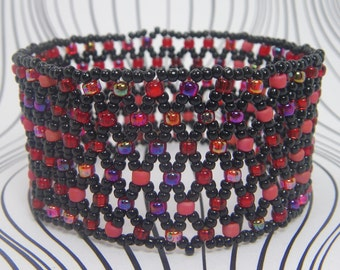 BERRY BLITZ Stretch Bracelet - Red Bracelet - Red and Black Seed Bead Jewelry - Hand Beaded Jewelry - Woven Seed Bead Cuff Bracelet Elastic