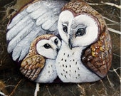 SALE- was 350.00 Barn Owls painted rocks- mother and baby by Shelli Bowler, this stone is ready for purchase