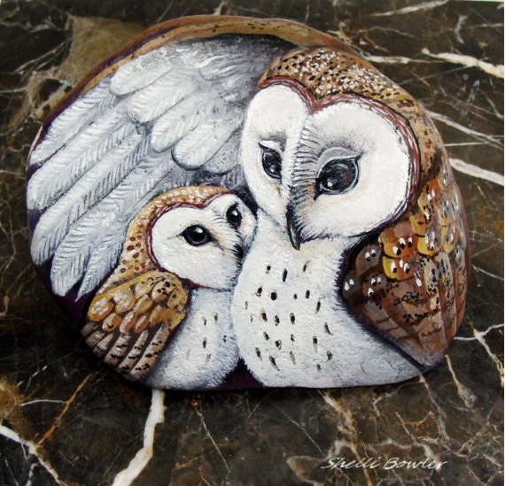 SALE was 350.00 Barn Owls painted rocks mother and baby by
