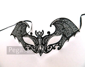 Black Gothic Bat Venetian Filigree Scroll work Metal Masquerade Mask (1 Piece)(color options available) Laser Cut Mask of Light Metal