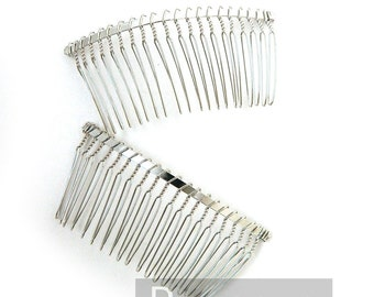 Silver Wire Bridal metal combs (6 PIECES) (3 inches width) Millinery  DIY supply for wedding veil, hats, fascinator combs,floral crown