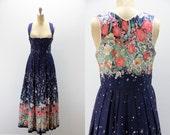 Vintage Dirndl Dress Navy and Floral - Costume