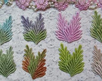 Venise Lace Leaves Hand Dyed Crazy Quilt Embellishment Appliques
