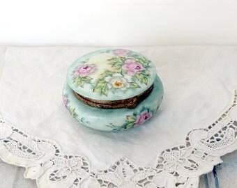 Vintage China Box / Ring Box / Hand Painted Trinket Box Dresser Vanity Box