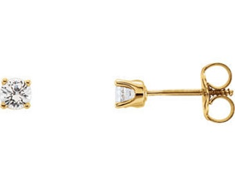14kt Gold Round White Sapphire Studs, April Birthstone Earrings