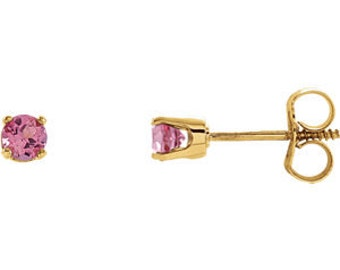 14kt Gold Birthstone Earrings October Birthstone-Pink Tourmaline Studs