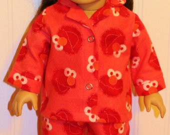 "SESAME STREET'S ELMO Flannel Doll Pajamas Fits 18"" dolls -- Proudly Made in America"