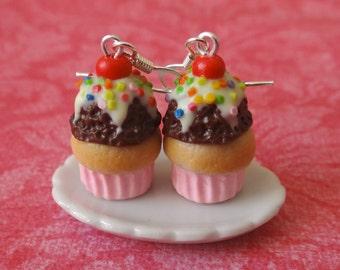 Chocolate ice cream cupcake earrings
