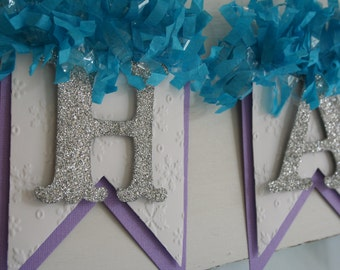 Happy Birthday Banner - Lavender and Aqua - Winter Birthday - Birthday Decoration - Birthday Garland - Birthday Photo Prop
