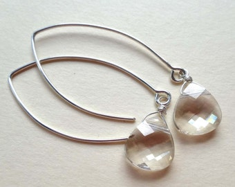 Silver shade Swarovski long earrings, Swarovski crystal Bali leaf long earrings, silver shade Bali silver earrings, silver elongated earring