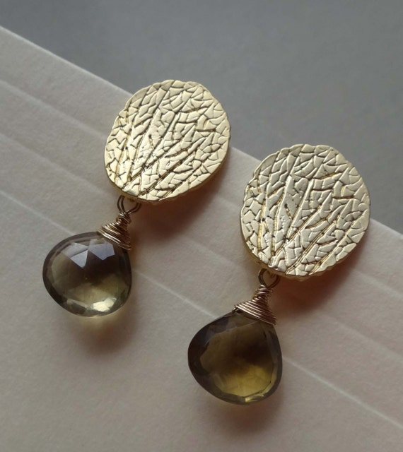 lemon yellow gemstone earrings pale yellow gemstone leaf