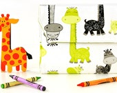 Giraffes Deluxe Crayon Wallet with option to add a name, Crayon organizer, Art wallet, Crayon keeper, Art kit, Handmade toy, Art toy