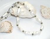 White Pearl Necklace, Wedding Jewelry, Genuine Pearls, Metallic Pyrite Gemstones, Beach Jewelry