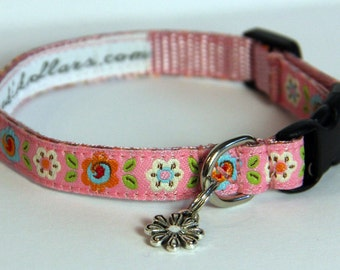Flowers Brocade Dog Collars - small dogs / puppies / teacup or tiny dogs