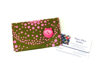 Business card holder and credit card case, 2 pockets olive green and pink, card organizer, purse accessory, gift for her, magnetic snap